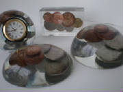 Paperweights and Clocks with Vintage British Coins